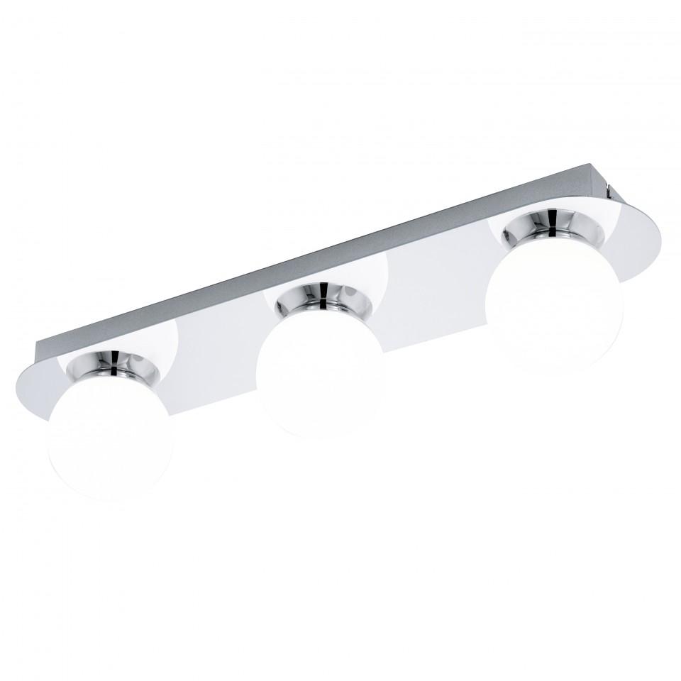 Светильник настенно-потолочный EgloСветильники настенно-потолочные<br>Мощность: 3.3,<br>Количество ламп: 3,<br>Назначение светильника: для комнаты,<br>Стиль светильника: модерн,<br>Материал светильника: металл, стекло,<br>Тип лампы: светодиодная,<br>Длина (мм): 450,<br>Ширина: 100,<br>Высота: 110,<br>Патрон: LED,<br>Цвет арматуры: хром,<br>Вес нетто: 1.85<br>