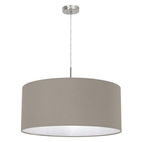 Подвес EgloСветильники подвесные<br>Количество ламп: 1, Мощность: 60, Назначение светильника: подвесной, Стиль светильника: модерн, Материал светильника: металл, Диаметр: 530, Высота: 1100, Тип лампы: накаливания, Патрон: Е27, Цвет арматуры: никель, Вес нетто: 0.913<br>