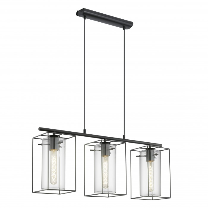 Подвес EgloСветильники подвесные<br>Количество ламп: 3,<br>Мощность: 60,<br>Назначение светильника: подвесной,<br>Стиль светильника: модерн,<br>Материал светильника: металл,<br>Высота: 1100,<br>Длина (мм): 745,<br>Ширина: 150,<br>Тип лампы: накаливания,<br>Патрон: Е27,<br>Цвет арматуры: черный,<br>Вес нетто: 3.98<br>