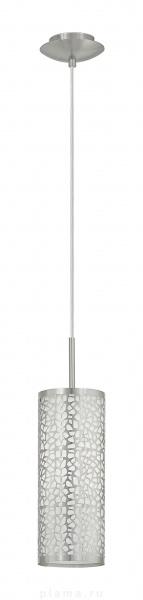 Светильник подвесной EgloСветильники подвесные<br>Количество ламп: 1,<br>Мощность: 60,<br>Назначение светильника: подвесной,<br>Стиль светильника: модерн,<br>Материал светильника: металл,<br>Диаметр: 110,<br>Высота: 1100,<br>Тип лампы: накаливания,<br>Патрон: Е27,<br>Цвет арматуры: никель,<br>Вес нетто: 1.094<br>