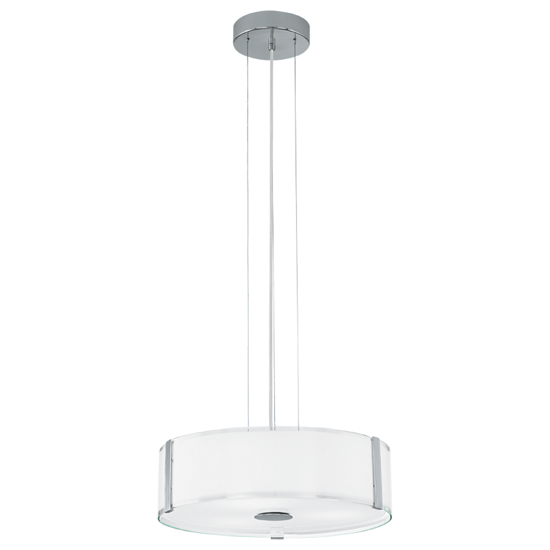 Светильник подвесной EgloСветильники подвесные<br>Количество ламп: 3,<br>Мощность: 60,<br>Назначение светильника: подвесной,<br>Стиль светильника: модерн,<br>Материал светильника: металл,<br>Диаметр: 410,<br>Высота: 1100,<br>Тип лампы: накаливания,<br>Патрон: Е27,<br>Цвет арматуры: хром,<br>Вес нетто: 4.848<br>