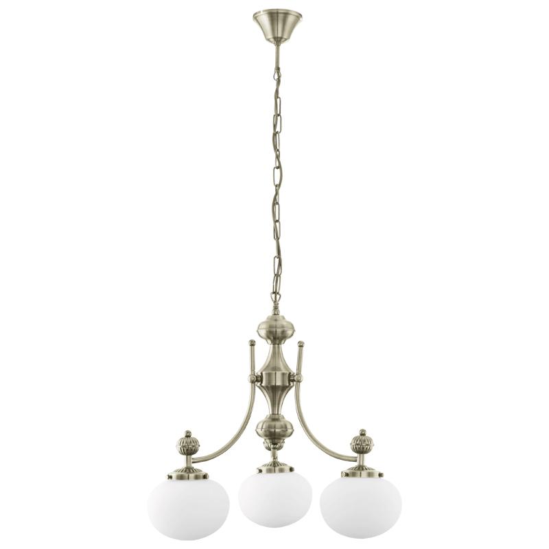 Светильник подвесной EgloСветильники подвесные<br>Количество ламп: 3,<br>Мощность: 60,<br>Назначение светильника: подвесной,<br>Стиль светильника: модерн,<br>Материал светильника: металл,<br>Диаметр: 595,<br>Высота: 1100,<br>Тип лампы: накаливания,<br>Патрон: Е27,<br>Цвет арматуры: бронза,<br>Вес нетто: 2.652<br>
