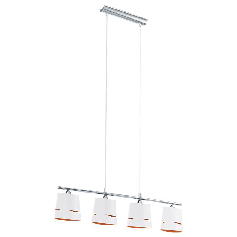 Светильник подвесной EgloСветильники подвесные<br>Количество ламп: 4,<br>Мощность: 40,<br>Назначение светильника: подвесной,<br>Стиль светильника: модерн,<br>Материал светильника: металл,<br>Высота: 1100,<br>Длина (мм): 750,<br>Ширина: 65,<br>Тип лампы: накаливания,<br>Патрон: Е14,<br>Цвет арматуры: хром,<br>Вес нетто: 1.943<br>