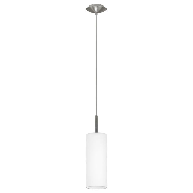 Светильник подвесной EgloСветильники подвесные<br>Количество ламп: 1,<br>Мощность: 7,<br>Назначение светильника: подвесной,<br>Стиль светильника: модерн,<br>Материал светильника: металл,<br>Диаметр: 105,<br>Высота: 1100,<br>Тип лампы: накаливания и светодиодные,<br>Патрон: Е27,<br>Цвет арматуры: никель,<br>Вес нетто: 0.818<br>
