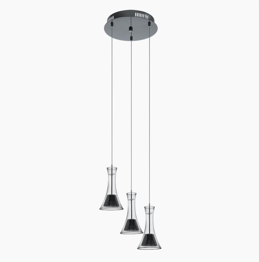 Светильник подвесной EgloСветильники подвесные<br>Количество ламп: 3,<br>Мощность: 5.8,<br>Назначение светильника: подвесной,<br>Стиль светильника: модерн,<br>Материал светильника: металл,<br>Диаметр: 350,<br>Высота: 1100,<br>Тип лампы: светодиодная,<br>Патрон: LED,<br>Цвет арматуры: черный,<br>Вес нетто: 2.34<br>