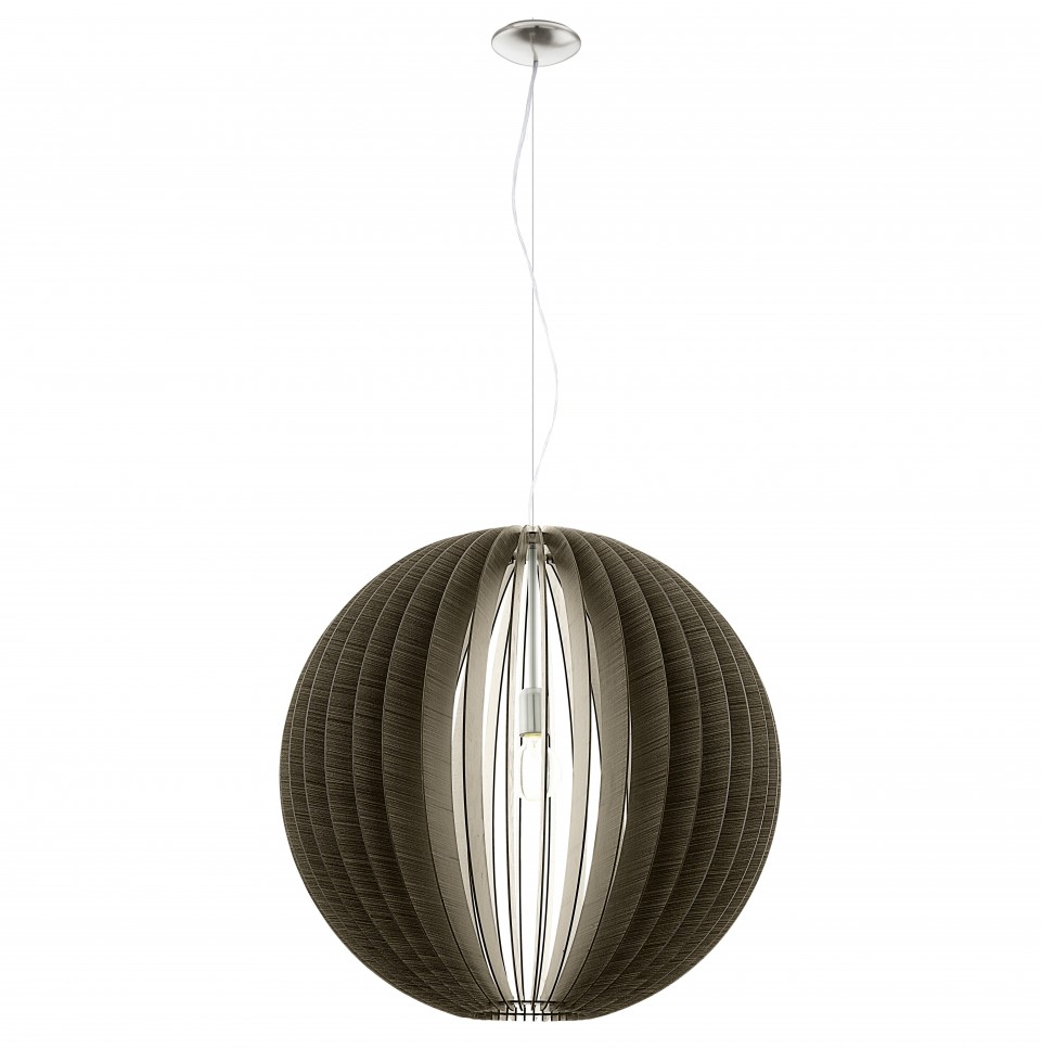 Светильник подвесной EgloСветильники подвесные<br>Количество ламп: 1,<br>Мощность: 60,<br>Назначение светильника: подвесной,<br>Стиль светильника: кантри,<br>Материал светильника: металл,<br>Диаметр: 700,<br>Высота: 1100,<br>Тип лампы: накаливания,<br>Патрон: Е27,<br>Цвет арматуры: никель,<br>Вес нетто: 6.649<br>
