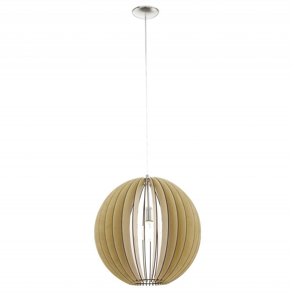 Светильник подвесной EgloСветильники подвесные<br>Количество ламп: 1,<br>Мощность: 60,<br>Назначение светильника: подвесной,<br>Стиль светильника: кантри,<br>Материал светильника: металл,<br>Диаметр: 500,<br>Высота: 1100,<br>Тип лампы: накаливания,<br>Патрон: Е27,<br>Цвет арматуры: никель,<br>Вес нетто: 3.11<br>