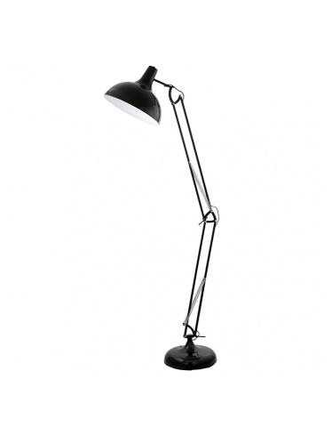 Торшер EgloТоршеры<br>Тип плафона: плафон,<br>Стиль светильника: модерн,<br>Материал светильника: металл,<br>Ширина: 380,<br>Высота: 1900,<br>Количество ламп: 1,<br>Тип лампы: накаливания,<br>Мощность: 60,<br>Патрон: Е27,<br>Цвет арматуры: черный,<br>Цвет плафона: черный,<br>Вес нетто: 12.5<br>