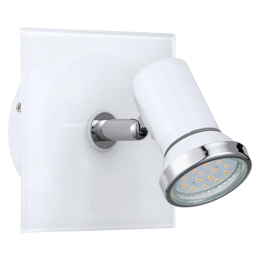 Спот EgloСпоты<br>Тип: спот,<br>Стиль светильника: модерн,<br>Материал светильника: металл, стекло,<br>Количество ламп: 1,<br>Тип лампы: галогенная,<br>Мощность: 2.5,<br>Патрон: GU10,<br>Цвет арматуры: хром,<br>Ширина: 120,<br>Длина (мм): 120,<br>Вес нетто: 0.504<br>