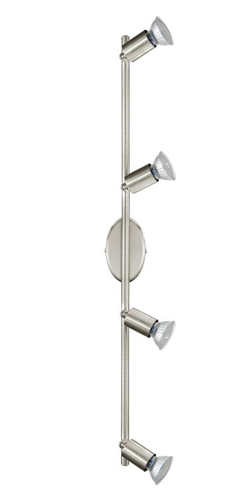 Спот EgloСпоты<br>Тип: спот,<br>Стиль светильника: модерн,<br>Материал светильника: металл,<br>Количество ламп: 4,<br>Тип лампы: галогенная,<br>Мощность: 3,<br>Патрон: GU10,<br>Цвет арматуры: никель,<br>Ширина: 685,<br>Длина (мм): 65,<br>Вес нетто: 0.735<br>