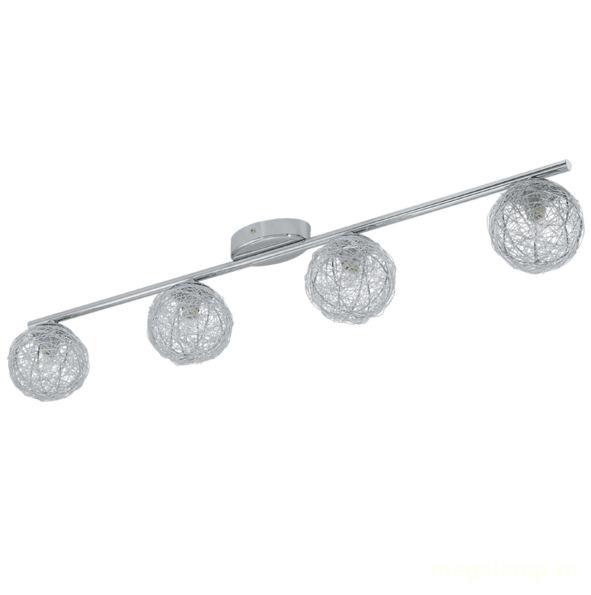 Спот EgloСпоты<br>Тип: спот,<br>Стиль светильника: модерн,<br>Материал светильника: металл,<br>Количество ламп: 4,<br>Тип лампы: галогенная,<br>Мощность: 33,<br>Патрон: G9,<br>Цвет арматуры: хром,<br>Ширина: 100,<br>Длина (мм): 760,<br>Вес нетто: 0.805<br>