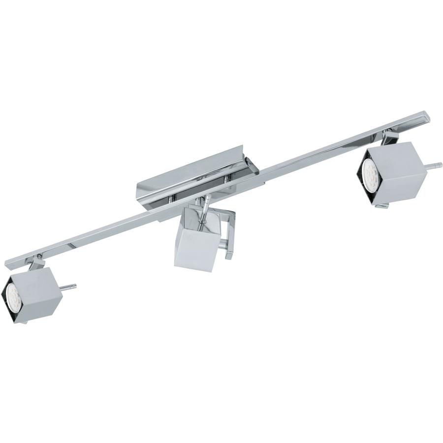 Спот EgloСпоты<br>Тип: спот,<br>Стиль светильника: модерн,<br>Материал светильника: металл,<br>Количество ламп: 3,<br>Тип лампы: галогенная,<br>Мощность: 5,<br>Патрон: GU10,<br>Цвет арматуры: хром,<br>Ширина: 70,<br>Длина (мм): 785,<br>Вес нетто: 1.928<br>