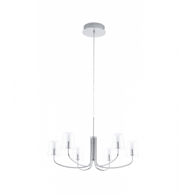 Светильник подвесной EgloСветильники подвесные<br>Количество ламп: 6,<br>Мощность: 3.3,<br>Назначение светильника: подвесной,<br>Стиль светильника: модерн,<br>Материал светильника: металл,<br>Диаметр: 730,<br>Высота: 1500,<br>Тип лампы: светодиодная,<br>Патрон: LED,<br>Цвет арматуры: хром<br>