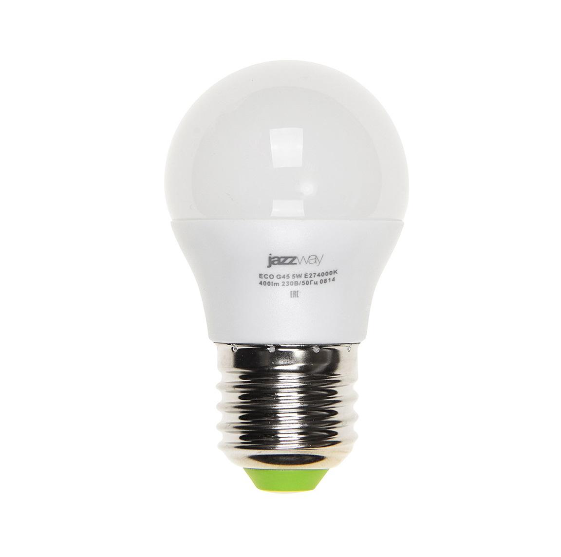 Лампа светодиодная JazzwayЛампы<br>Тип лампы: светодиодная,<br>Форма лампы: шар,<br>Цвет колбы: белая,<br>Тип цоколя: Е27,<br>Напряжение: 220,<br>Мощность: 5,<br>Цветовая температура: 3000,<br>Цвет свечения: нейтральный<br>
