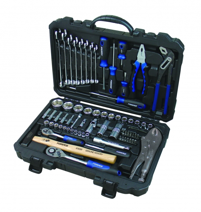 Набор инструментов ForsageНаборы инструментов<br>Назначение: универсальный,<br>Количество предметов в наборе: 72,<br>Класс: полупроф.,<br>Поставляется в: кейсе,<br>Родина бренда: Тайвань<br>