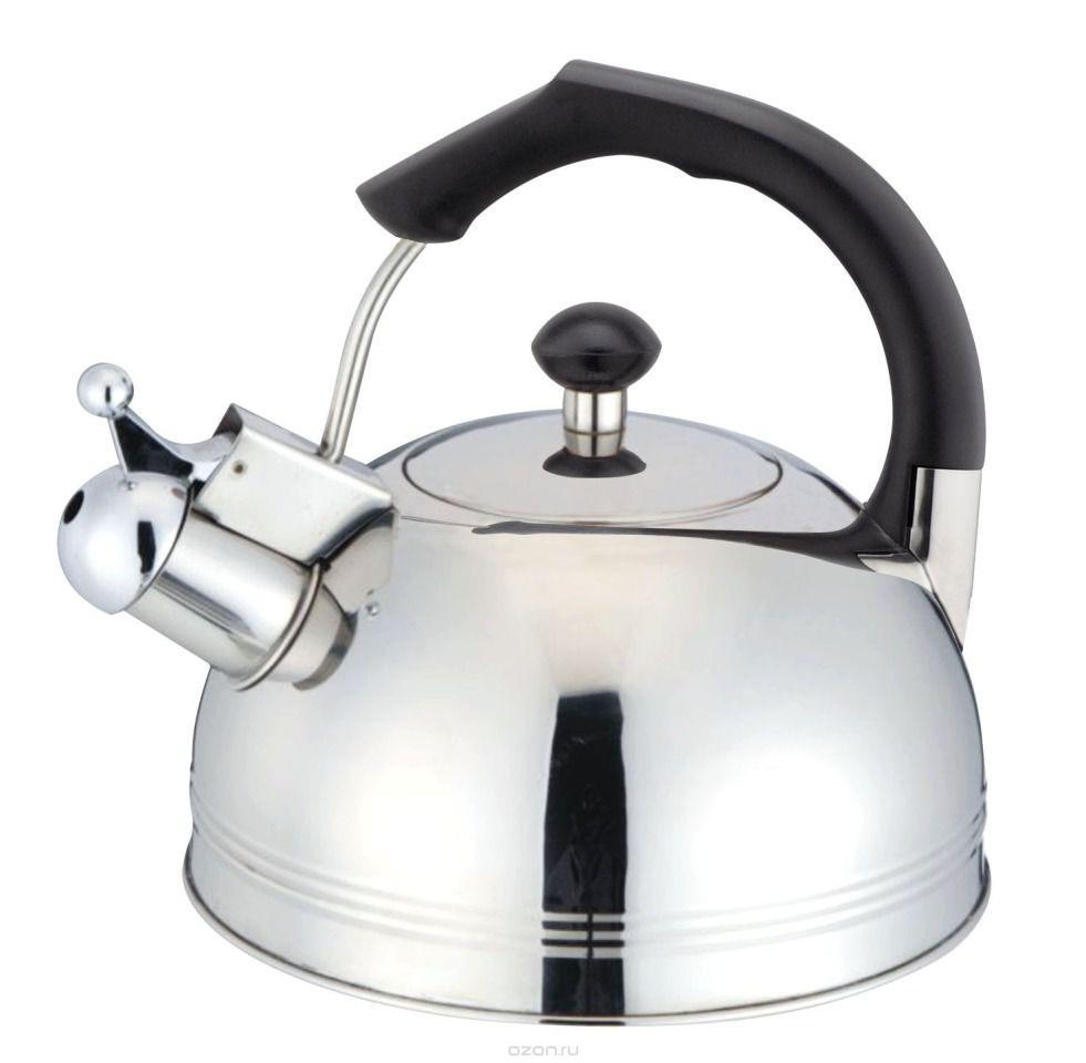 Чайник со свистком TecoЧайники со свистком<br>Тип: чайник со свистком, Объем: 3, Цвет: серебристый, Материал: нержавеющая сталь/бакелит, Для индукционных плит: есть, Со свистком: есть<br>