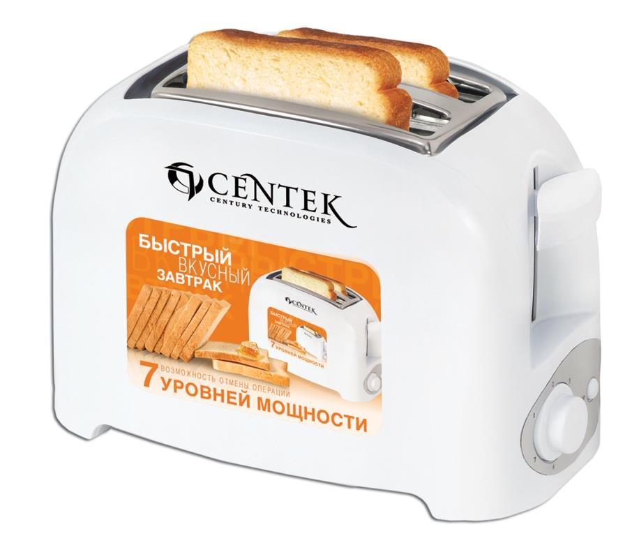 Тостер CentekТостеры<br>Тип: тостер,<br>Мощность: 750,<br>Количество отделений: 2,<br>Количество тостов: 2,<br>Кнопка отмены: есть,<br>Управление: механическое,<br>Регулировка степени обжаривания: есть,<br>Материал корпуса: пластик<br>