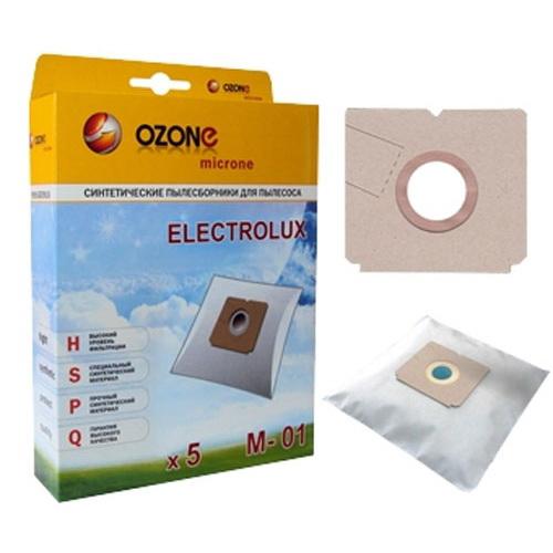 Мешок OzoneАксессуары для бытовых пылесосов<br>Тип: мешок,<br>Назначение: для ELECTROLUX,<br>Количество в упаковке: 5<br>