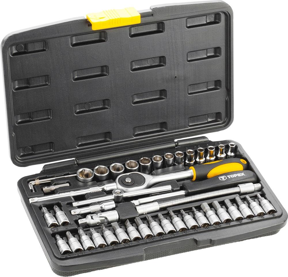 Набор головок TopexКлючи торцевые<br>Набор: есть,<br>Ключей в наборе: 46,<br>Посадочный размер: 1/4  ,<br>Тип набора: набор головок<br>