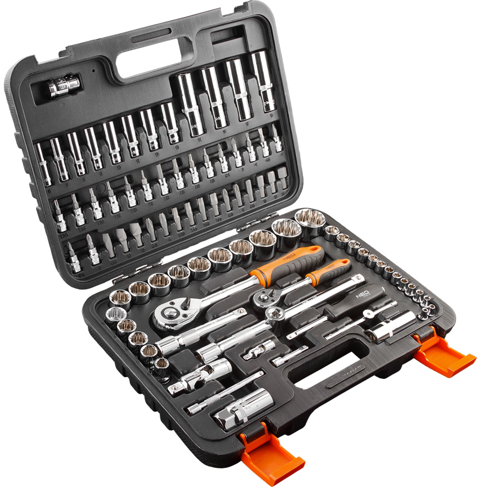 Набор головок NeoКлючи торцевые<br>Набор: есть,<br>Ключей в наборе: 86,<br>Посадочный размер: 1/4  ,<br>Тип набора: набор головок<br>