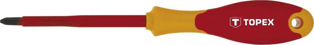 Отвертка крестовая TopexОтвертки<br>Тип наконечника: PH (крест),<br>Тип отвертки: стандартная,<br>Длина (мм): 100<br>