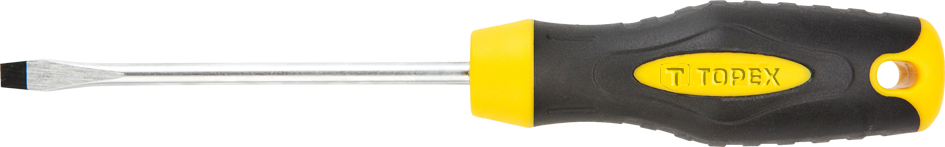 Отвертка TopexОтвертки<br>Тип наконечника: SL (шлиц),<br>Тип отвертки: стандартная,<br>Длина (мм): 100<br>