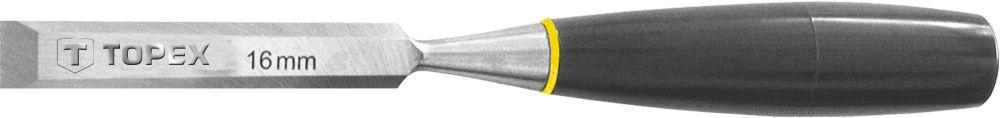 Стамеска TopexСтамески<br>Ширина: 14,<br>Материал рукоятки: пластик,<br>Форма лезвия: плоская<br>