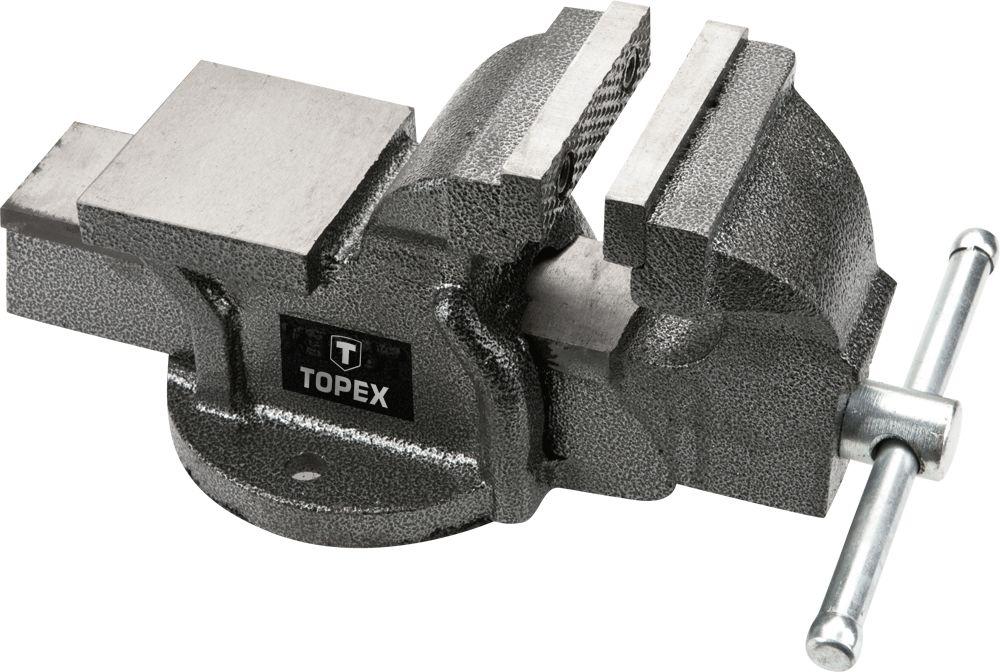 Тиски TopexСтрубцины и тиски<br>Тип: тиски,<br>Тип тисков: поворотные,<br>Ширина губок: 150<br>