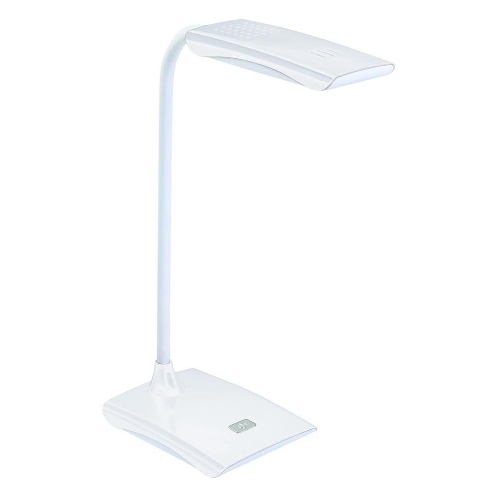 Лампа настольная VolpeЛампы настольные<br>Тип настольной лампы: ученическая/офисная,<br>Назначение светильника: офисный,<br>Стиль светильника: современный,<br>Материал светильника: пластик,<br>Количество ламп: 1,<br>Тип лампы: светодиодная,<br>Цвет арматуры: белый<br>