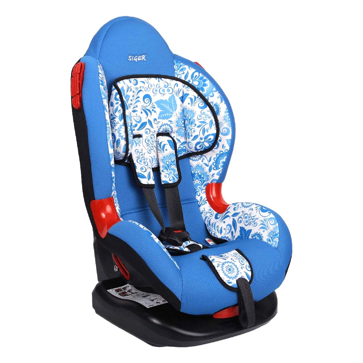 Кресло детское автомобильное SigerДетские автокресла<br>Группа: 1/2 (9-25 кг), Внутренние ремни: есть, Способ установки: лицом вперед, Регулировка наклона спинки: есть, Регулировка внутренних ремней: есть, Съемный чехол: есть<br>