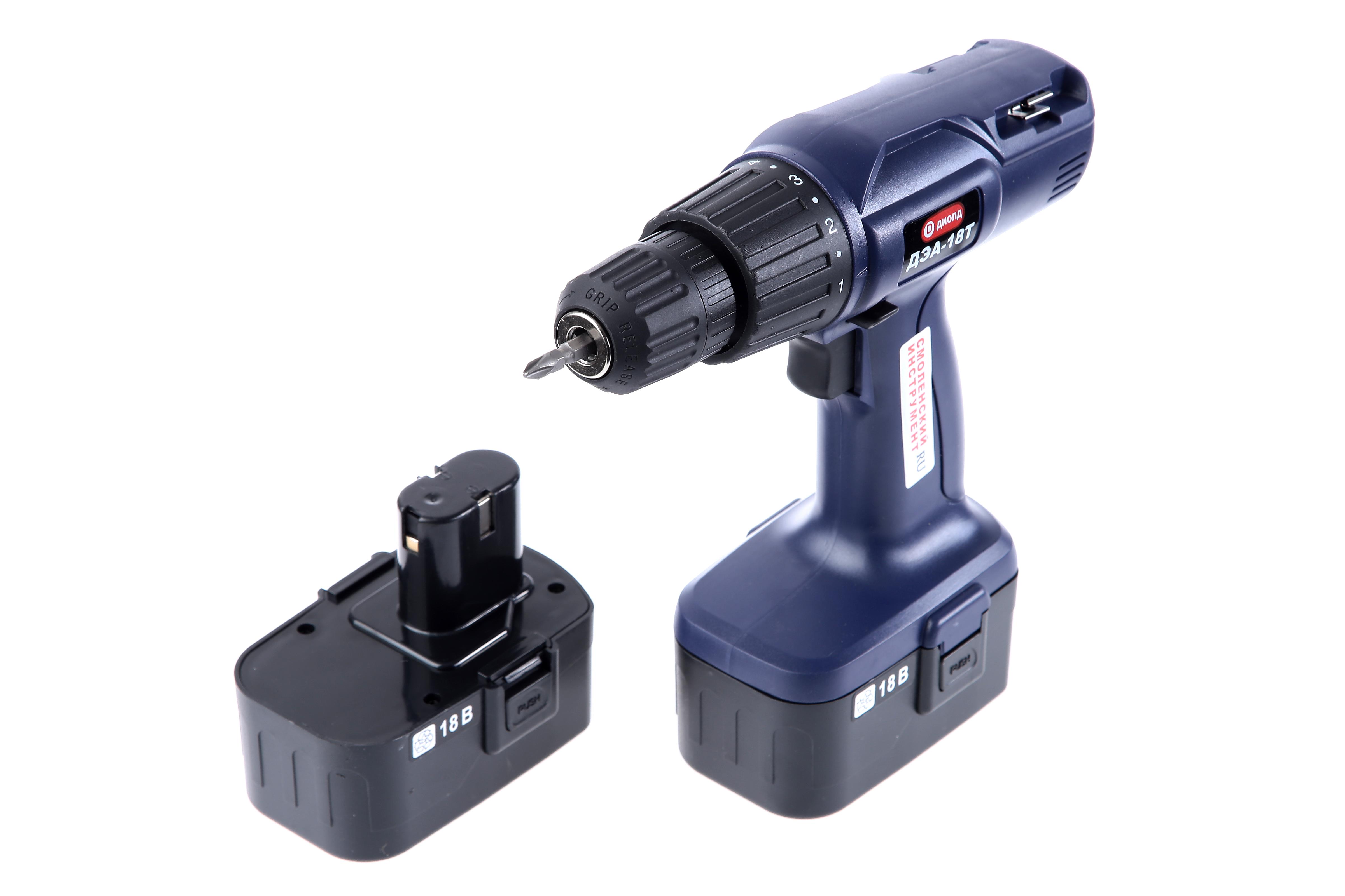 Дрель аккумуляторная ДИОЛДАккумуляторные дрели, шуруповерты<br>Аккумулятор: 18,<br>Емкость аккумулятора: 1.3,<br>Тип аккумулятора: NiCd,<br>Обороты: 0-550,<br>Макс. обороты: 550,<br>Тип: дрель-шуруповерт,<br>Быстрозажимной патрон: есть,<br>Диаметр патрона: 10,<br>Тип патрона: БЗП,<br>Усилие закручивания: 8,<br>Макс. диаметр сверления (металл): 10,<br>Макс. диаметр сверления (дерево): 25,<br>Макс. диаметр шурупа: 6,<br>Электронная регулировка числа оборотов: есть,<br>Время заряда: 3,<br>Поставляется в: кейсе<br>