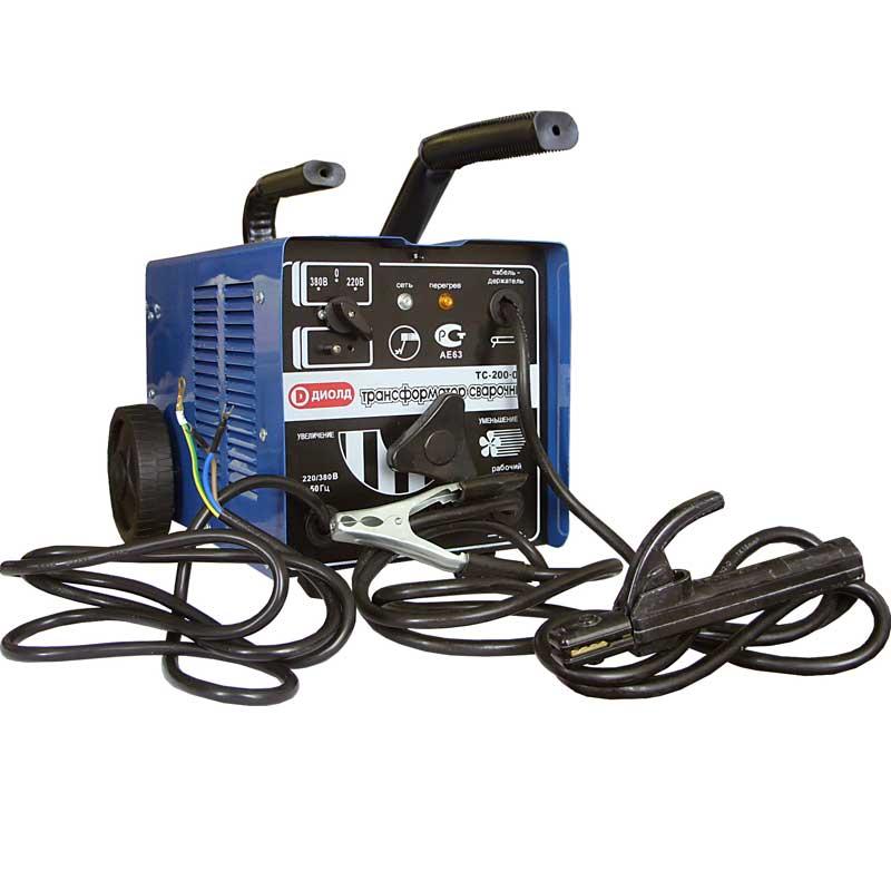 Сварочный аппарат ДИОЛДСварочное оборудование<br>Макс. сварочный ток: 200,<br>Мощность: 3500,<br>Напряжение: 220,<br>Мин. входное напряжение: 198,<br>Выходной ток: 60-200,<br>Напряжение холостого хода: 48,<br>Потребляемый ток: 16,<br>Мин. диаметр электрода: 2,<br>Макс. диаметр электрода: 4,<br>Тип сварочного аппарата: трансформаторный,<br>Тип сварки: дуговая (электродом, MMA),<br>Трансформатор: есть,<br>Три фазы: нет,<br>Класс: бытовой<br>