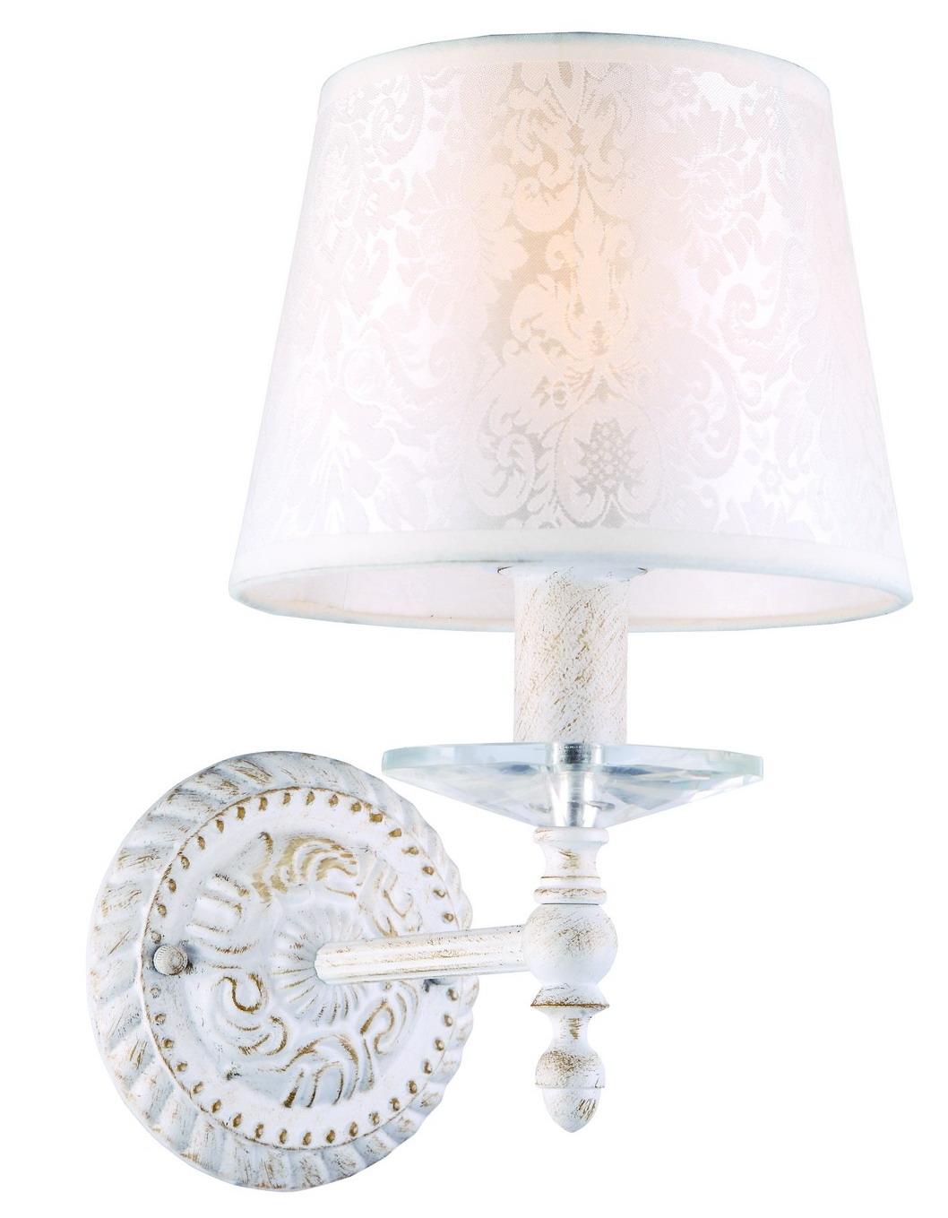 Бра Arte lampНастенные светильники и бра<br>Тип: бра,<br>Назначение светильника: для комнаты,<br>Стиль светильника: классика,<br>Материал светильника: металл, ткань,<br>Тип лампы: накаливания,<br>Количество ламп: 1,<br>Мощность: 40,<br>Патрон: Е14,<br>Цвет арматуры: белый,<br>Длина (мм): 250,<br>Высота: 290,<br>Диаметр: 180<br>
