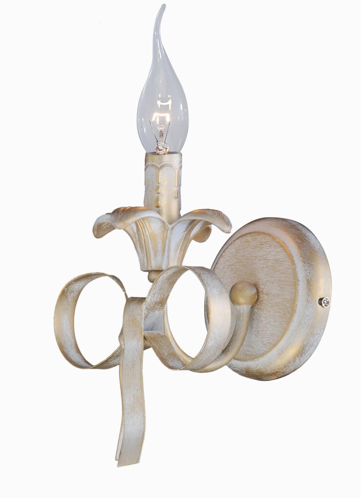 Бра Arte lampНастенные светильники и бра<br>Тип: бра, Назначение светильника: для комнаты, Стиль светильника: модерн, Материал светильника: металл, Тип лампы: накаливания, Количество ламп: 1, Мощность: 40, Патрон: Е14, Цвет арматуры: золото, Длина (мм): 200, Высота: 390, Диаметр: 160, Коллекция: olivia 1018<br>