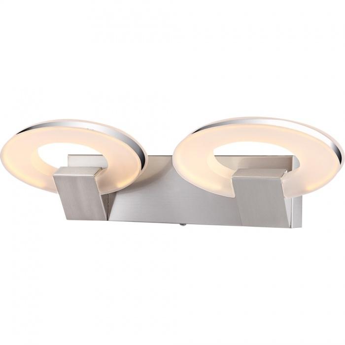 Бра GloboНастенные светильники и бра<br>Тип: настенный, Назначение светильника: для комнаты, Стиль светильника: модерн, Материал светильника: металл, пластик, Тип лампы: светодиодная, Количество ламп: 2, Мощность: 8, Патрон: LED, Цвет арматуры: серебристый, Длина (мм): 130, Высота: 430, Диаметр: 100, Коллекция: andalucia<br>
