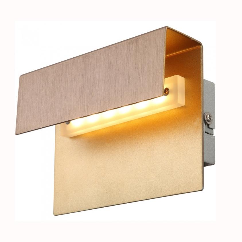 Бра GloboНастенные светильники и бра<br>Тип: настенный,<br>Назначение светильника: для комнаты,<br>Стиль светильника: модерн,<br>Материал светильника: металл,<br>Тип лампы: светодиодная,<br>Количество ламп: 1,<br>Мощность: 3,<br>Патрон: LED,<br>Цвет арматуры: бронза,<br>Длина (мм): 100,<br>Высота: 150,<br>Диаметр: 70<br>