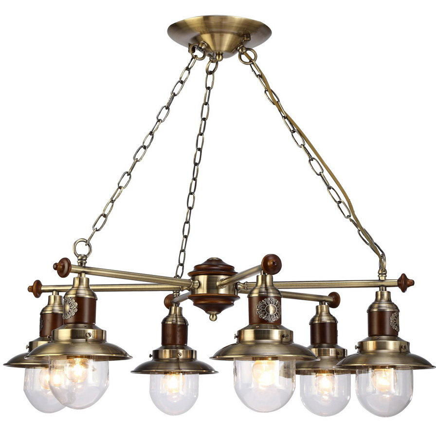 Люстра Arte lampЛюстры<br>Назначение светильника: для комнаты,<br>Стиль светильника: классика,<br>Тип: подвесная,<br>Материал светильника: металл, стекло, дерево,<br>Материал арматуры: металл,<br>Длина (мм): 720,<br>Ширина: 720,<br>Высота: 250,<br>Количество ламп: 6,<br>Тип лампы: накаливания,<br>Мощность: 60,<br>Патрон: Е27,<br>Цвет арматуры: бронза<br>