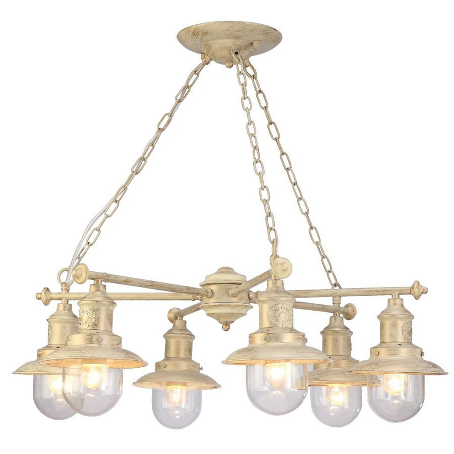 Люстра Arte lampЛюстры<br>Назначение светильника: для комнаты,<br>Стиль светильника: классика,<br>Тип: подвесная,<br>Материал светильника: металл, стекло,<br>Материал плафона: металл, стекло,<br>Материал арматуры: металл,<br>Длина (мм): 720,<br>Ширина: 720,<br>Высота: 250,<br>Количество ламп: 6,<br>Тип лампы: накаливания,<br>Мощность: 60,<br>Патрон: Е27,<br>Цвет арматуры: белый<br>