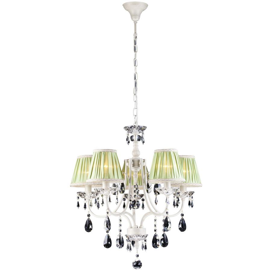 Люстра Arte lampЛюстры<br>Назначение светильника: для гостиной,<br>Стиль светильника: классика,<br>Тип: подвесная,<br>Материал светильника: металл, хрусталь, ткань,<br>Материал плафона: ткань,<br>Материал арматуры: металл,<br>Длина (мм): 590,<br>Ширина: 590,<br>Высота: 590,<br>Количество ламп: 5,<br>Тип лампы: накаливания,<br>Мощность: 60,<br>Патрон: Е14,<br>Цвет арматуры: белый,<br>Коллекция: veil 3082<br>