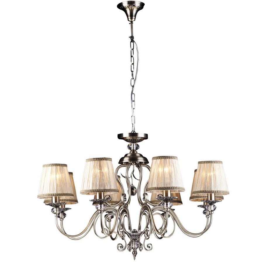 Люстра Arte lampЛюстры<br>Назначение светильника: для гостиной,<br>Стиль светильника: классика,<br>Тип: подвесная,<br>Материал светильника: металл, хрусталь, ткань,<br>Материал плафона: ткань,<br>Материал арматуры: металл,<br>Длина (мм): 800,<br>Ширина: 800,<br>Высота: 510,<br>Количество ламп: 8,<br>Тип лампы: накаливания,<br>Мощность: 60,<br>Патрон: Е14,<br>Цвет арматуры: бронза<br>