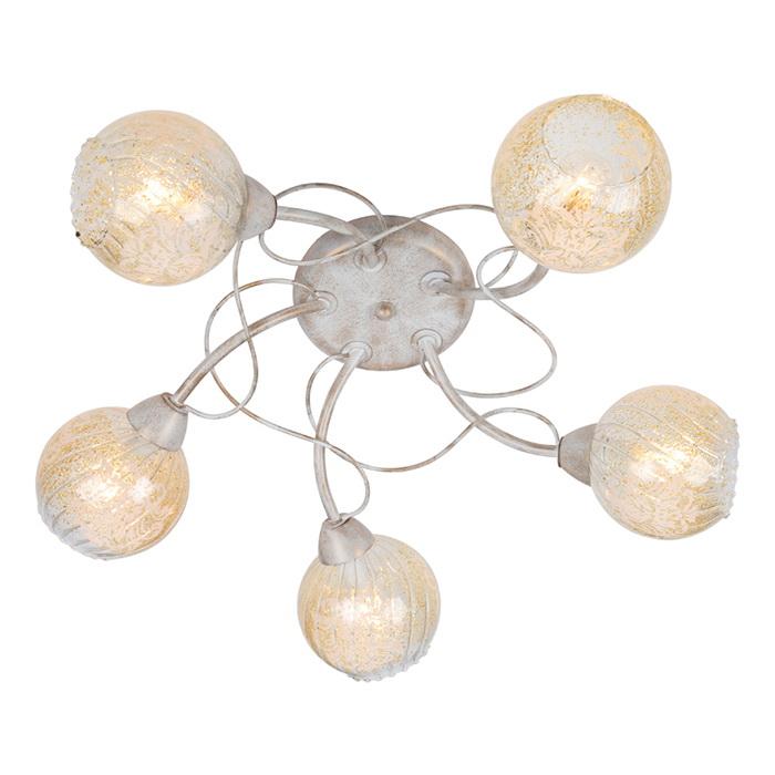 Люстра Arte lampЛюстры<br>Назначение светильника: для комнаты,<br>Стиль светильника: классика,<br>Тип: потолочная,<br>Материал светильника: металл, стекло,<br>Материал плафона: стекло,<br>Материал арматуры: металл,<br>Длина (мм): 620,<br>Ширина: 620,<br>Высота: 170,<br>Количество ламп: 5,<br>Тип лампы: накаливания,<br>Мощность: 40,<br>Патрон: Е14,<br>Цвет арматуры: белый<br>