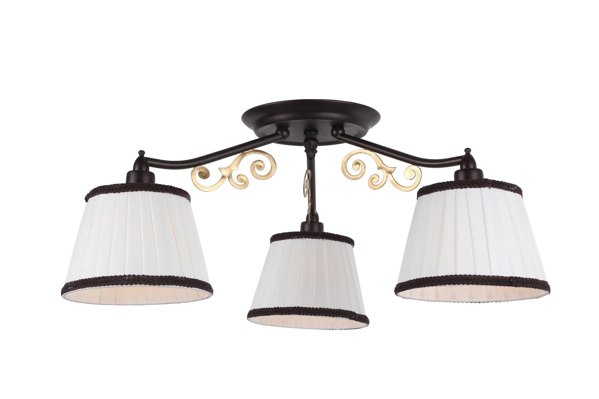 Люстра Arte lampЛюстры<br>Назначение светильника: для комнаты,<br>Стиль светильника: модерн,<br>Тип: потолочная,<br>Материал светильника: металл, ткань,<br>Материал плафона: ткань,<br>Материал арматуры: металл,<br>Длина (мм): 550,<br>Ширина: 550,<br>Высота: 230,<br>Количество ламп: 3,<br>Тип лампы: накаливания,<br>Мощность: 40,<br>Патрон: Е14,<br>Цвет арматуры: дерево<br>
