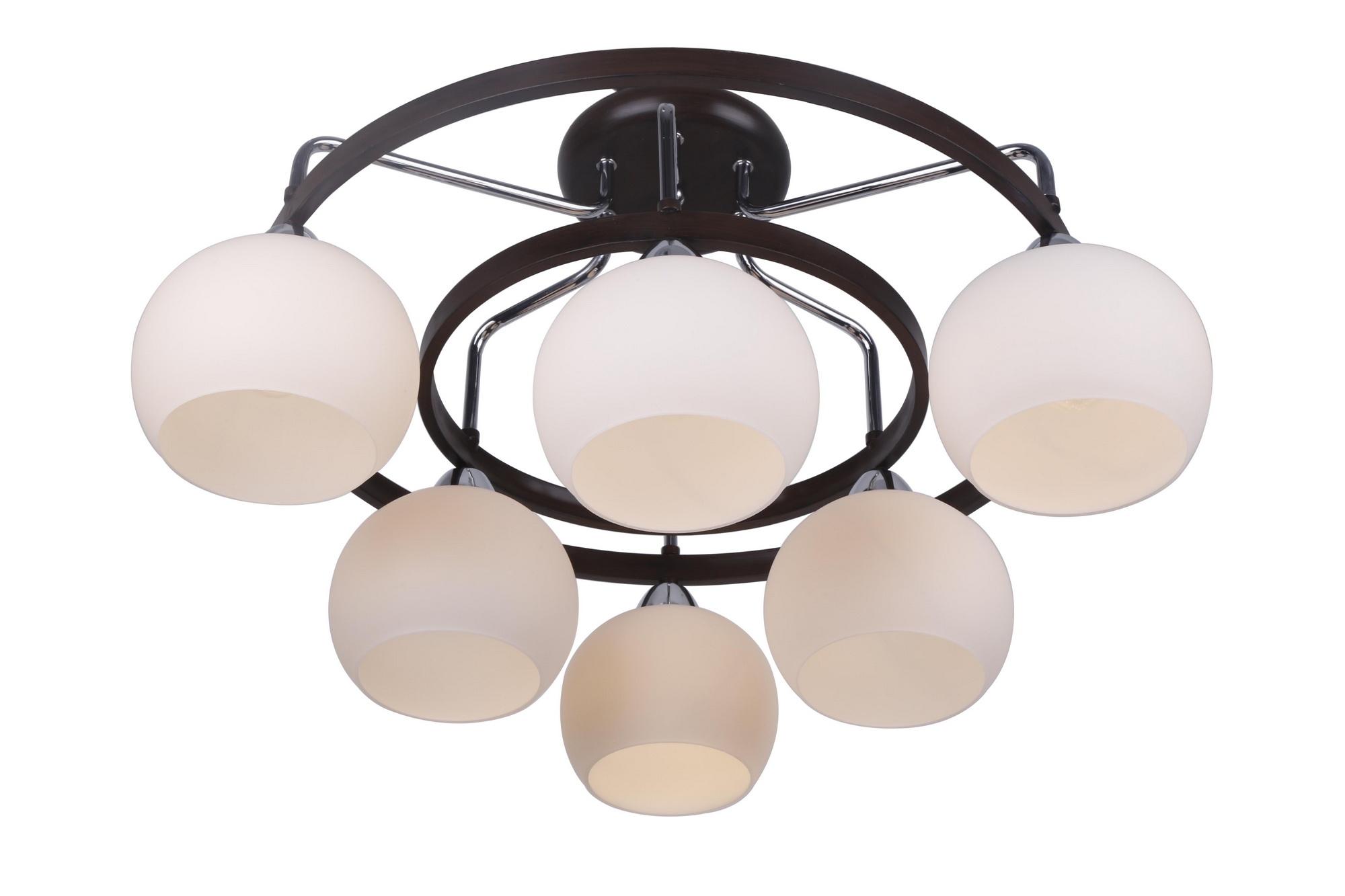 Люстра Arte lampЛюстры<br>Назначение светильника: для комнаты, Стиль светильника: модерн, Тип: потолочная, Материал светильника: металл, стекло, Материал плафона: стекло, Материал арматуры: металл, Длина (мм): 640, Ширина: 640, Высота: 340, Количество ламп: 6, Тип лампы: накаливания, Мощность: 40, Патрон: Е14, Цвет арматуры: дерево, Родина бренда: Италия, Коллекция: empoli 7148<br>