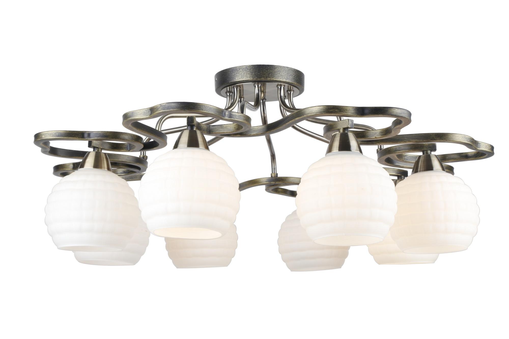 Люстра Arte lampЛюстры<br>Назначение светильника: для комнаты,<br>Стиль светильника: модерн,<br>Тип: потолочная,<br>Материал светильника: металл, стекло,<br>Материал плафона: стекло,<br>Материал арматуры: металл,<br>Длина (мм): 740,<br>Ширина: 740,<br>Высота: 290,<br>Количество ламп: 8,<br>Тип лампы: накаливания,<br>Мощность: 40,<br>Патрон: Е14,<br>Цвет арматуры: золото<br>
