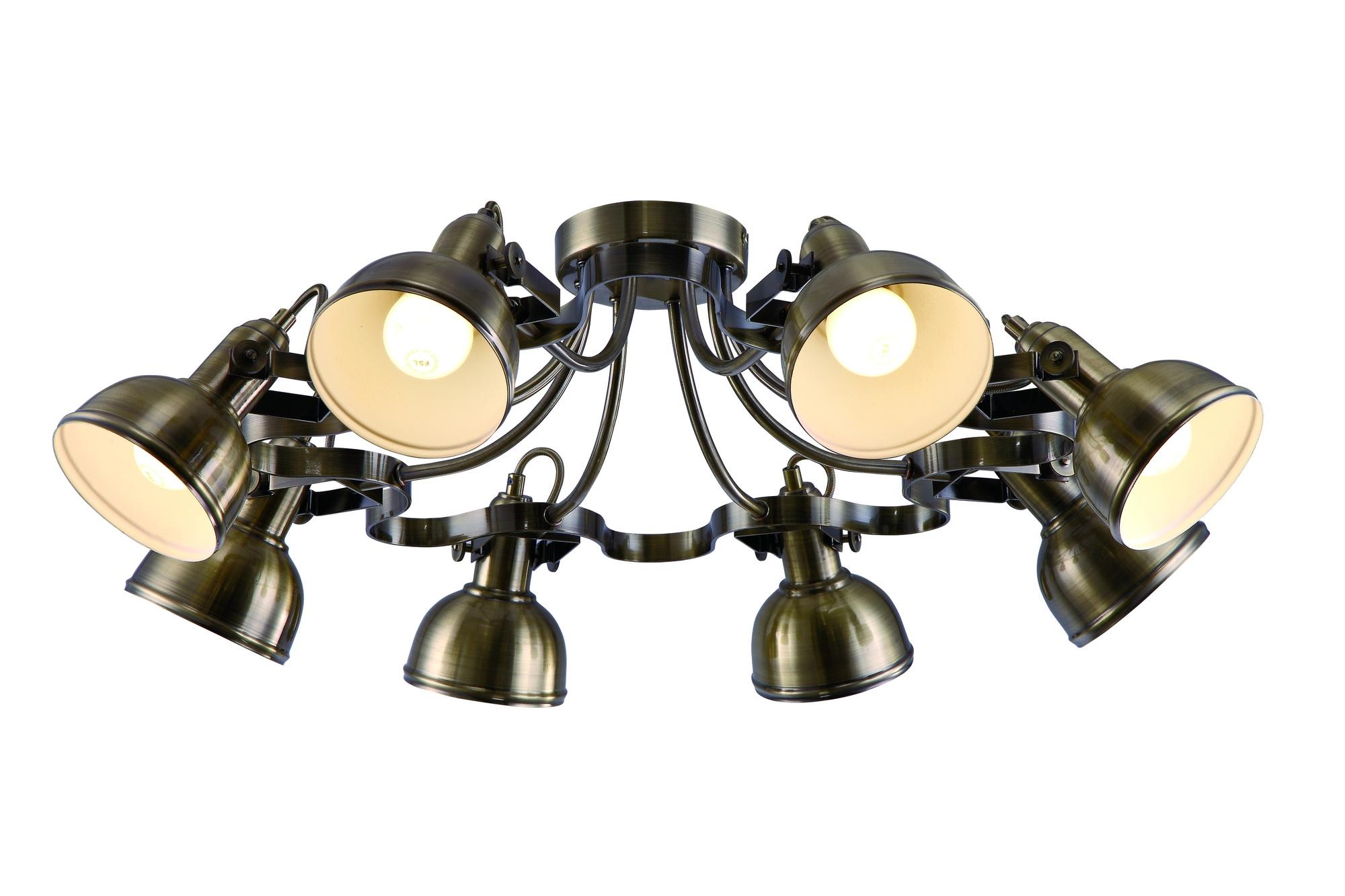 Люстра Arte lampЛюстры<br>Назначение светильника: для комнаты,<br>Стиль светильника: модерн,<br>Тип: потолочная,<br>Материал светильника: металл,<br>Материал арматуры: металл,<br>Длина (мм): 730,<br>Ширина: 730,<br>Высота: 250,<br>Количество ламп: 8,<br>Тип лампы: накаливания,<br>Мощность: 40,<br>Патрон: Е14,<br>Цвет арматуры: бронза<br>