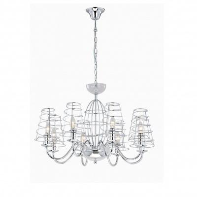 Люстра Arte lampЛюстры<br>Назначение светильника: для комнаты,<br>Стиль светильника: модерн,<br>Тип: подвесная,<br>Материал светильника: металл, стекло,<br>Материал плафона: металл,<br>Материал арматуры: металл,<br>Длина (мм): 720,<br>Ширина: 720,<br>Высота: 470,<br>Количество ламп: 8,<br>Тип лампы: накаливания,<br>Мощность: 40,<br>Патрон: Е14,<br>Цвет арматуры: хром,<br>Коллекция: cage 4320<br>