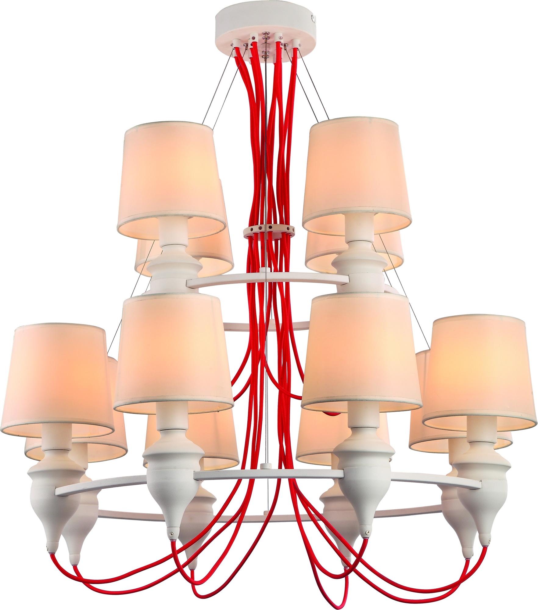 Люстра Arte lampЛюстры<br>Назначение светильника: для комнаты,<br>Стиль светильника: модерн,<br>Тип: подвесная,<br>Материал светильника: металл, ткань,<br>Материал плафона: ткань,<br>Материал арматуры: металл,<br>Длина (мм): 810,<br>Ширина: 810,<br>Высота: 1000,<br>Количество ламп: 12,<br>Тип лампы: накаливания,<br>Мощность: 40,<br>Патрон: Е14,<br>Цвет арматуры: белый,<br>Коллекция: sergio 3325<br>