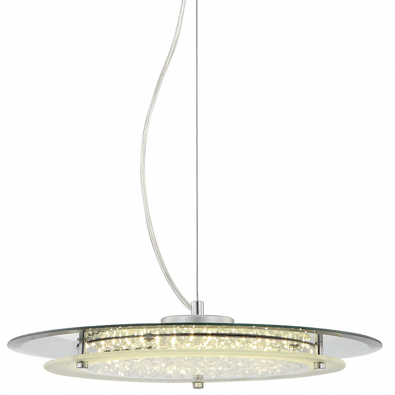 Люстра GloboЛюстры<br>Назначение светильника: для комнаты,<br>Стиль светильника: модерн,<br>Тип: подвесная,<br>Материал светильника: металл, стекло,<br>Материал арматуры: металл,<br>Длина (мм): 1050,<br>Ширина: 360,<br>Высота: 360,<br>Количество ламп: 1,<br>Тип лампы: светодиодная,<br>Мощность: 17,<br>Патрон: LED,<br>Цвет арматуры: серебро<br>