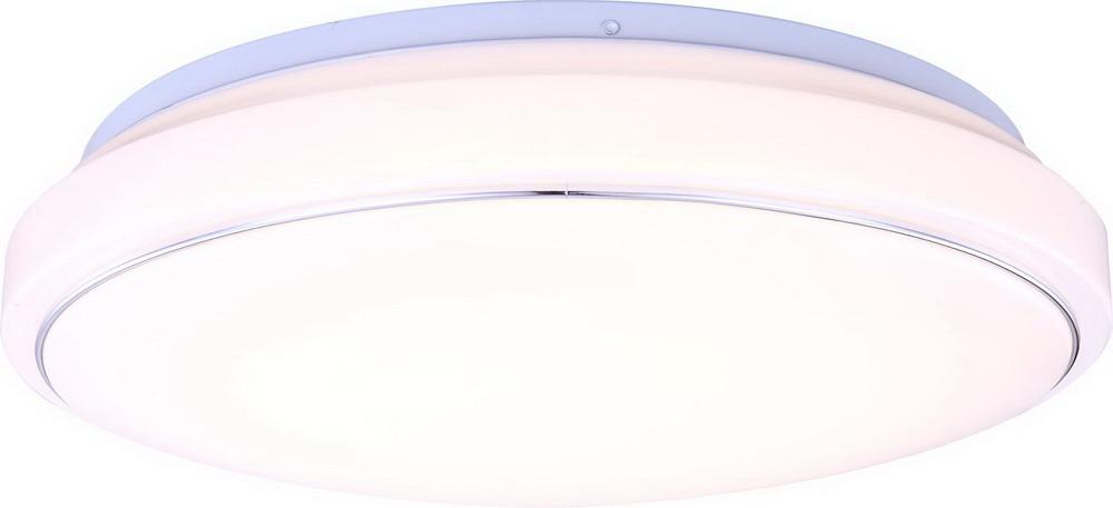 Светильник настенно-потолочный GloboСветильники настенно-потолочные<br>Мощность: 21,<br>Количество ламп: 1,<br>Назначение светильника: для комнаты,<br>Стиль светильника: современный,<br>Материал светильника: металл, пластик, стекло,<br>Тип лампы: светодиодная,<br>Длина (мм): 110,<br>Ширина: 400,<br>Высота: 400,<br>Патрон: LED,<br>Цвет арматуры: матовый хром<br>