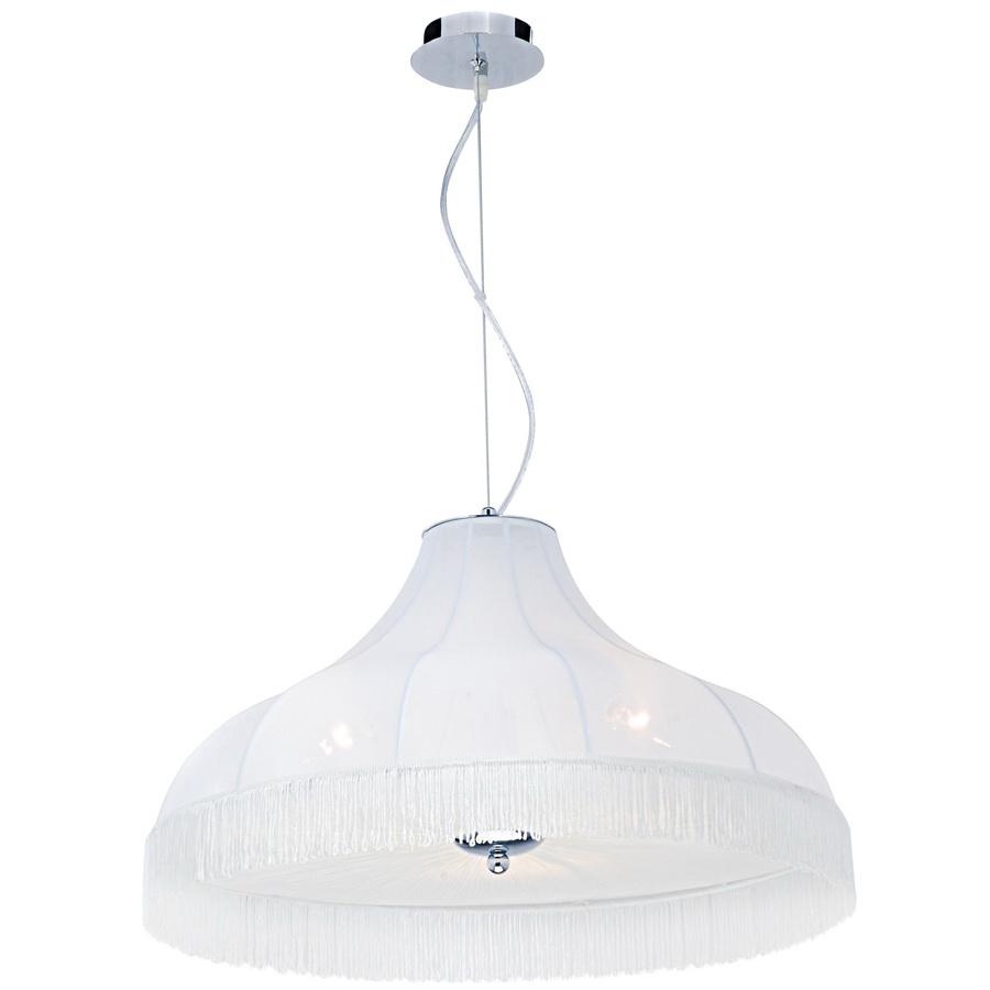 Подвес Arte lampСветильники подвесные<br>Количество ламп: 3,<br>Мощность: 40,<br>Назначение светильника: для гостиной,<br>Стиль светильника: классика,<br>Материал светильника: металл, ткань,<br>Высота: 370,<br>Длина (мм): 600,<br>Ширина: 600,<br>Тип лампы: накаливания,<br>Патрон: Е14,<br>Цвет арматуры: хром<br>